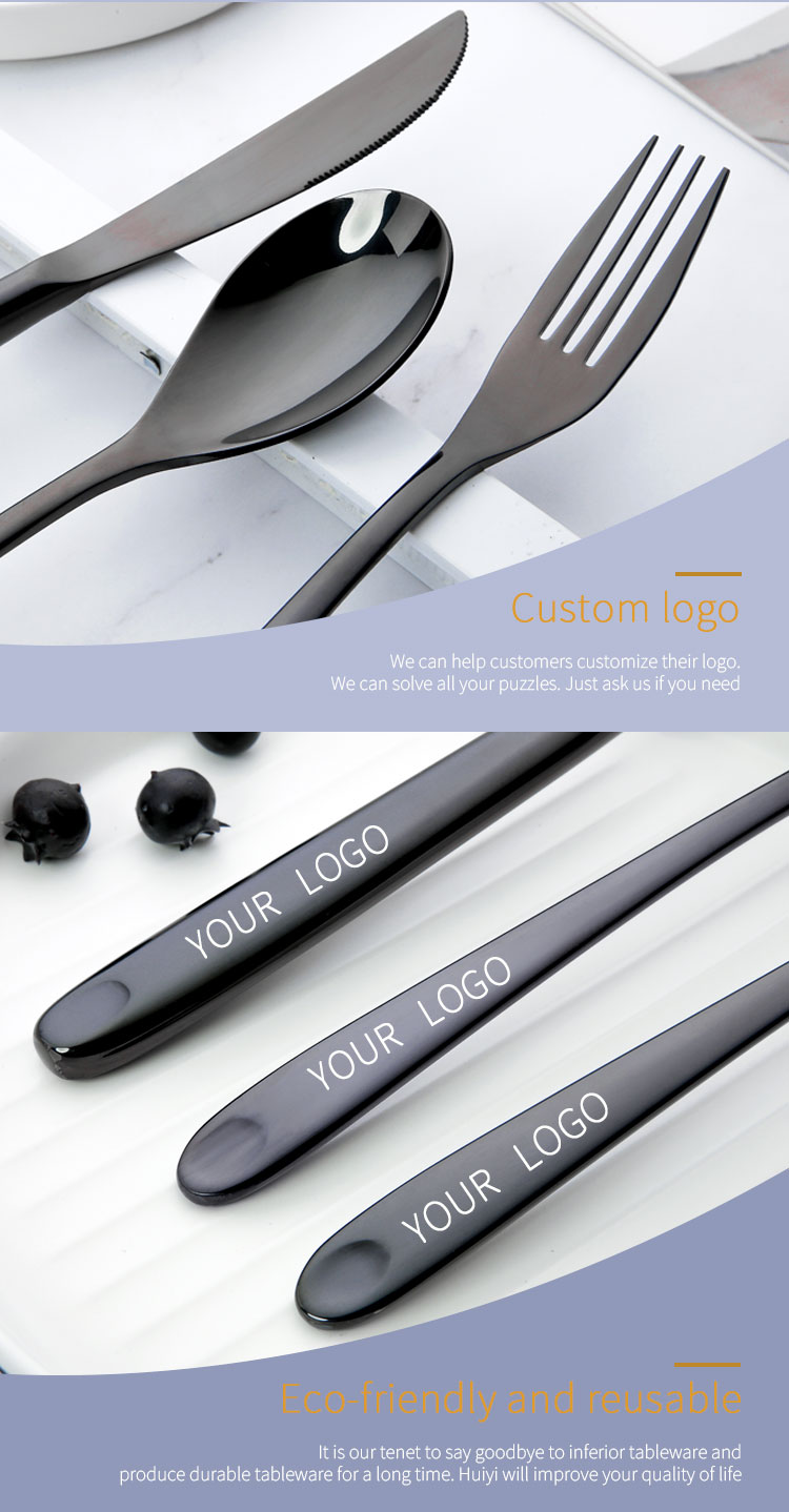 304 Stainless Steel Black Forged Flatware
