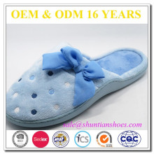 fashion cup sole soft low pile with embroidery& large chiffon bow warm indoor woman slipper