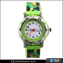 Relógio de exército de crianças de silicone de volta de aço inoxidável