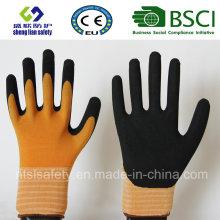Gants givrés au latex 15g Nylon / Spandex, Gants de travail de sécurité de finition sablonneuse (SL-RS303)