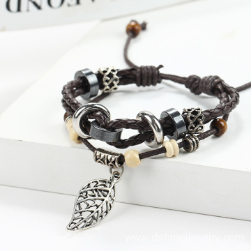 Handmade Weaved Alloy Leaf Pendant Leather Bracelet Men