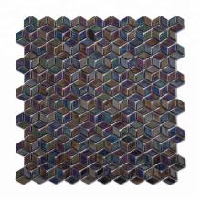 Glossy Colorful Diamond Shaped Iridescent Glass Mosaic Pool Tile