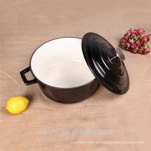 Heißer Verkauf Glanz-Schwarz-Beschichtung Emaille Gusseisen Kochen Suppe Topf mit Deckel
