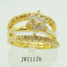 Unique two in one latest gold ring designs new design gold finger rings for women