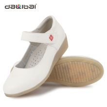 white leather wedges rubber sole fashion shoes for nurse