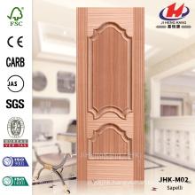 JHK-M02 Economic Evagination Rut Decorative Protrude Raised Line Turkmenistan Natural Sapelli MDF Moulded Storm Door Skin