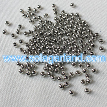 Wholesale 4MM Gold Silver Plating Beads Acrylic Loose Spacer Charms