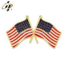 Custom zinc alloy hard enamel American flag lapel pins for souvenir