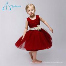 Longueur au genou Scoop Zipper Plus Size Cute Flower Girl Dresses