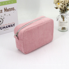 Wholesale Seersucker Makeup Bags Private Label Custom Logo Candy Pink Pouch Bag Corduroy Cosmetic Bag