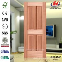 JHK-004P Acordeão de Preço Baixo 4 Flat Panels América Apartamento Livingroom Madeira Sapelli Veneer Natural Door Skin