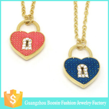 Latest Custom Gold Plated Lock Heart Charm Necklace for Women