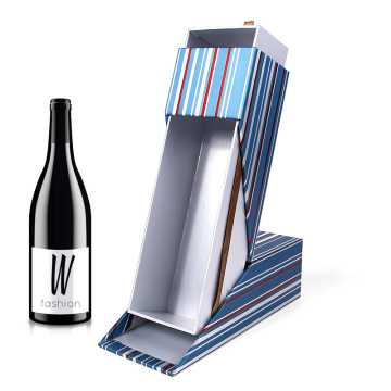 Bentuk Khusus Custom Luxury Single Wine Bottle Shipping Wine Case Box dengan Sliding Lid