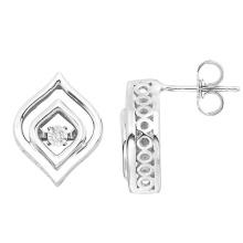 925 Sterling Silver Stud Earrings Dancing Diamond Jewelry