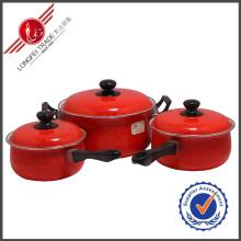 3 PCS Red Decal Geschirr Emaille Kochgeschirr Set