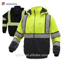 2018 New custom fashion style high visibility reflective safety yellow sweatshirt
