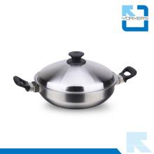 Grandes potes de cozinha de aço inoxidável Wok à venda