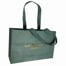 Recycled Paper Shopping Bag with Logo in Gold Foil