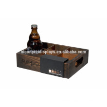 Branded 6-Bottle Drinks Display Countertop Point Of Sale Small Retail Rustic Wooden Display Stand