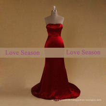 LSM002 Red sweetheart girls prom dress natural waist with belt mermaid satin burgundy evening prom dress