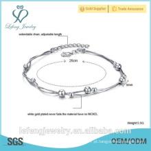 Jóias elegantes jóias artesanais de ouro branco banhado pulseira tornozelo para as mulheres