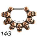 Vintage Brass Skull Nose Ring Septum Piercing Ring