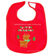 Promotional Custom Made Cartoon Deer Embroidered Cotton Red Christmas Baby Bib