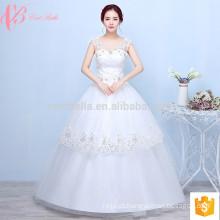 Spaghetti strap apliques de renda multicamada vestido de noiva de vestido de bola inchado barato