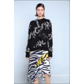 DAMEN RUFFLED ZEBRA MIDI ROCK