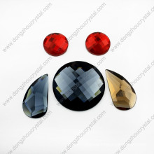 Machine Cut Decorative Flat Back Round Glass Stones for Dress