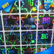 Etiquetas engomadas baratas del holograma de la fuente de China de diseño de encargo, etiqueta engomada holográfica de la impresión del laser de la alta calidad
