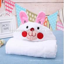 Toallas de baño encapuchadas calientes de la historieta natural suave del bebé recién nacido (blanco) (conejo)