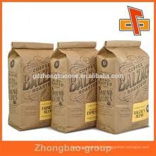 Side-gusset brown kraft paper coffee bags with custom printing
