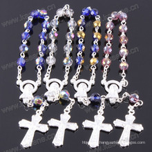 Face Cutting Clear Glass 6mm Prayer Bead Rosary Bracelet