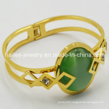 Beautiful 316L Stainless Steel Bangle with Big Stone
