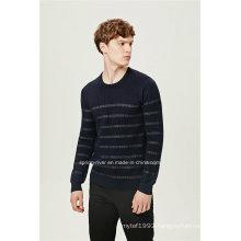 Wool Blend Round Neck Striped Knitting Men Sweater