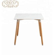 Pata de madera simple mesa cuadrada de comedor de MDF