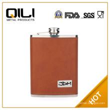 FDA 6oz leather wrap small mini flask