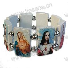 Neuester Entwurfs-weißes hölzernes Rosenbeet-Armband mit Heilig-Bildern