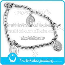Chaîne à maillons en gros avec bracelet médaille Saint Benoît Notre Père de Saint-Jésus pendentif Bracelet croisé avec breloque crucifix