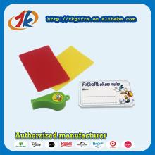Árbitro de plástico esportes apito vermelho e amarelo cartão de brinquedo