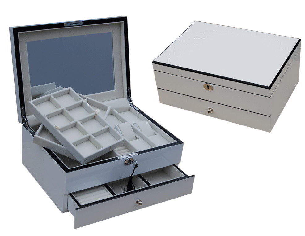 Jtr 30 White Handcraft Luxury Ladies Jewelry Box