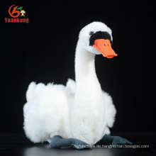 Kundenspezifischer Tierweiß-schwarzer weicher Schwan und angefüllter Gans-Plüsch-Spielzeug
