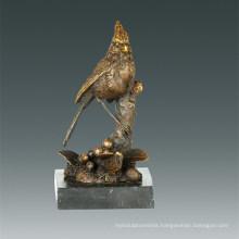 Animal Bronze Sculpture Brid Birdle Branch Decoration Brass Statue Tpal-261