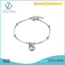 Platinum pulseira jóias tornozeleira, jóias de prata tornozeleira