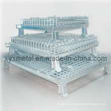 Zusammenklappbarer stapelbarer industrieller Speicher Galvanisierter Beschichtungs-Draht-Mesh-Käfig