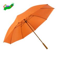 Helle Ford Golf Orange Army Regenschirm Corporation, solide bunte 60'' 16mm Qualitätsholzstab Bambusgriff Golfschirme