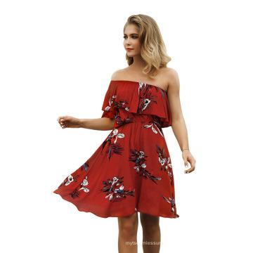 Frau Strandkleid Sexy One Shoulder Holiday Kleid
