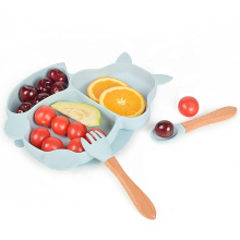 Dinner Food Toddler Set Foodgrade Baby Dish Suction Divider Placemat Cartoon Animal Strong Suction Silicone Kids Plates