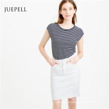 Streifen-Baumwollfrauen-T-Shirt